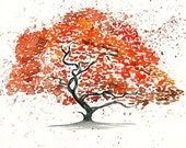 Maple tree -Landscape painting-Watercolor-Archival Large Print from my original watercolor painting 14x11 inch