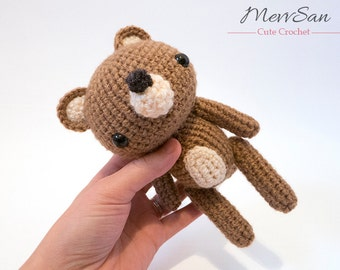 MADE to ORDER - Amigurumi Woodland Critter Bear - crochet animal plush, amigurumi bear toy, teddy bear plush, cute crochet bear doll