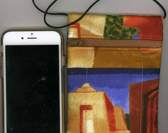Cell Phone & Passport Bag - Quilted Cotton - Southwest Adobe Motif - Long strap - Fits iphone