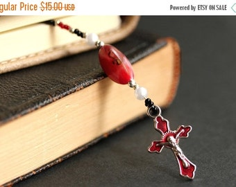 BACK to SCHOOL SALE Red Bookmark. Christian Bookmark. Red Christian Cross Bookmark. Beaded Book Thong. Handmade Bookmark. Enameled Red Cross