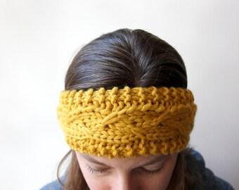 Knit Headband, Wool Ear Warmer, Knitted Ear Warmer, Fashion Headband, Fall Style, Autumn Fashion, Cozy Headband, Warm Knit Headband, Yellow