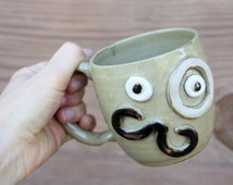Monocle Mug with Handlebar Mustache. 12 Ounces. Rustic Tan. Ceramic Stoneware Coffee Cup. Pottery Teacup. Funny Face Mugs. Unique Drinkware.