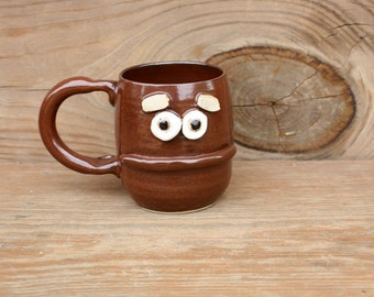 Pessimist Pottery Mug. 12 Ounce Earthy Red Brown Coffee Cup. Microwave Dishwasher Safe Stoneware Pottery Tea Cup. Ceramic Clay Mug.