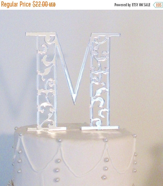 ON SALE Scroll Monogram Cake Toppers for Wedding in Silver Black or Gold Mirror