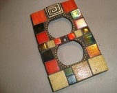 MOSAIC Electrical Outlet COVER , Wall Plate, Wall Art, Black, Red, Tan, Gold