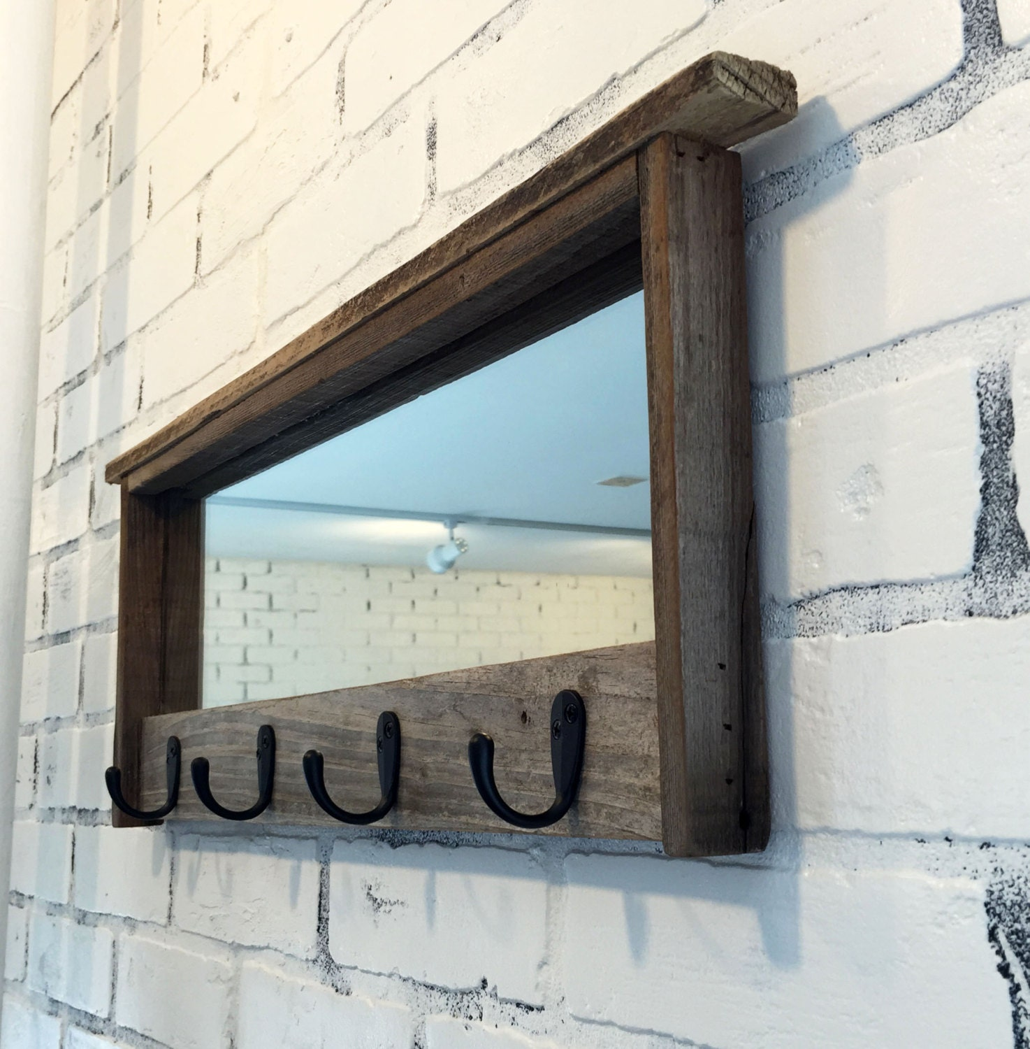 Entryway mirror with four coat hooks rustic reclaimed for Mirror hooks
