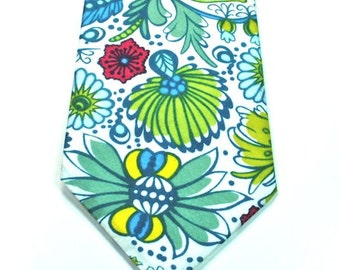Aqua Neckties Mens Necktie Blue and Green Necktie Blue Floral Necktie Custom Neckties