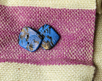 Handmade Buttons, Pair, Blue Black and Gold