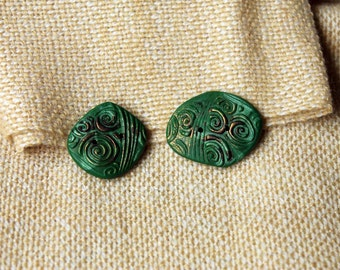 Handmade buttons, Fimo buttons, Green and gold