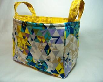 PK Fabric Basket in Geometry in Ocean - Storage Basket - Diaper Caddy - Ready To Ship - Reversible
