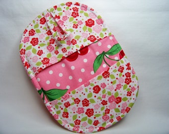 Pinch Pot Holder in Cherry Dot in Bloom - Hot Pad - Ready To Ship