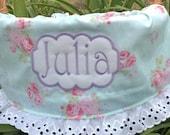 Personalized Easter Basket Liner - 45 Fabrics - Aqua Mint Vintage Roses Ruffle - With or without Eyelet Ruffle  - Girls Boys Basket Liner