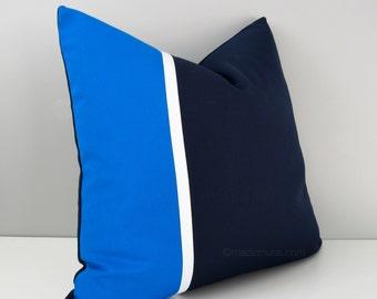 Navy Blue & Cobalt Pillow Cover, Modern Color Block Pillow Cover, Decorative Throw Pillow Case, White, Sunbrella Cushion Cover, Masculine