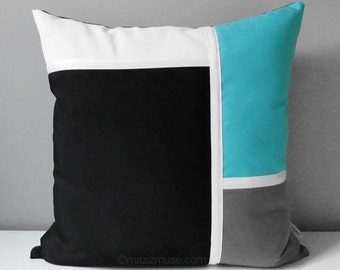 Decorative Blue & Black Outdoor Pillow Cover, Modern Color Block Pillow Cover, Turquoise Blue Grey White Sunbrella Cushion Cover, Mazizmuse