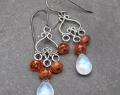 Chandelier Earrings Rainbow Moonstone and Confetti Sunstone with Oxidzed Sterling Silver Wire Wrapped with Sterling Silver Ear Hooks