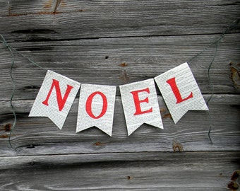 "Christmas Banner,  ""NOEL"" Book Page Christmas Banner, Paper Banner, Garland, Paper Christmas Decor, NOEL Sign, Paper HOliday Decor, Upcycled"