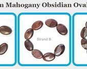 Mahogany Obsidian Oval Beads - 30 x 20 x 6mm - 8 bead strand - natural stone - chocolate browns with black veining