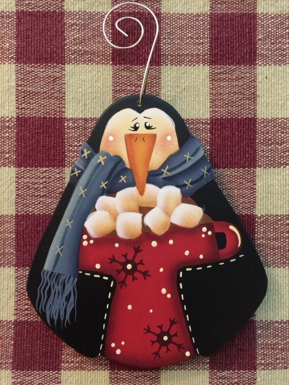 Let's Have Cocoa Penguin  Wood Christmas Ornament