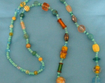 Aqua and Yellow Bead Necklace