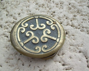 old Vintage Solid Brass STS USA  Belt buckle Awesome Find in as found condition