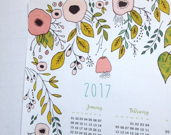 2017 printable calendar, digital calendar, flowers calendar, poster size A3 - PDF flowers illustrations