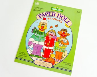 Vintage 1980s Toy / 80s Sesame Street and the Four Seasons Paper Doll, Uncut Like-New