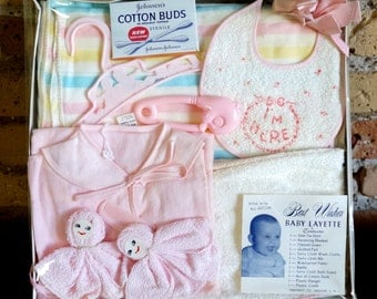 Vintage Baby Layette Set / Retro Pastel Baby Essentials Rattle Bib Blanket Towel Comb Panty Hanger / New Baby Gift Nursery Decor Set Prop
