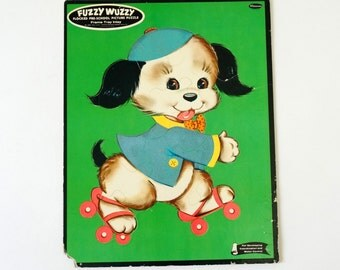 Vintage Whitman Doggie on Skates Fuzzy Wuzzy Flocked Picture Puzzle / Childs Room Decor