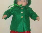 15 inch baby doll, Bitty Baby green coat and hat