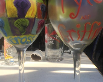 Lacrosse, monogrammed, pop art, wine glass, hand painted