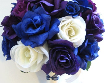 "Wedding flowers silk Bridal bouquet 17 piece Package ROYAL Blue PURPLE PLUM Cream Artificial bouquets decorations  ""RosesandDreams"""