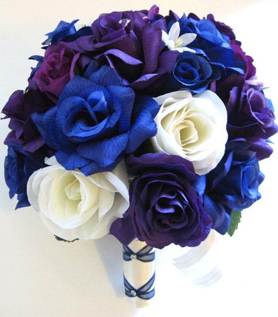 Wedding Flowers Silk Bridal Bouquet 17 Piece Package ROYAL
