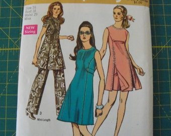 Simplicity 8788 Misses Dress and Pants in Two Lengths Size 16 Vintage 1970