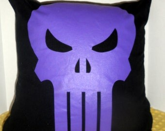 The Punisher by Marvel Comics 18 x 18 Upcycled T-Shirt to Pillow Cover. Dark lavender on black. The Punisher-Speciality Unique Pillow Cover