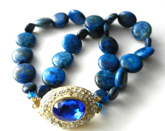 Alluring color and glam in 2-strands natural Lapis Lazuli stones bracelet - Dazzling  crystal clasp -1970s vintage Unique Piece-Art.503/2 -