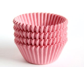 MINI Light Pink Cupcake Liners, Pale Pink Birthday Party Liners, Pink Valentine's Day Cupcake Liners (60)