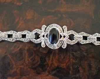 Silver Bracelet Marcasites Links Art Deco Style