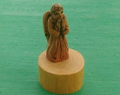 Minature BLESSING ANGEL, Hand Carved Rustic Angel Wood Carving in Aromatic Cedar Wood by Susana Caban