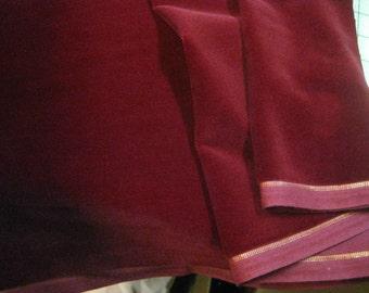 Vintage cotton Velvet fabric dark red  Germany