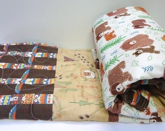 Baby Quilt-Boy-Bear-Woodland Rustic-Forest-Tee Pee-Totem Pole-Baby Bear Blanket-Pine Tree-Cream-Tan Brown