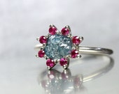 Rough Teal Blue Diamond Engagement Ring Pink Red Ruby Halo 14K White Gold Floral Elegance Raw Gemstone Bridal Band Boho Flower - Teal Rose