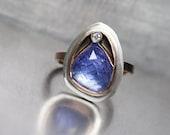 Rose Cut Tanzanite Diamond Ring 14K Rose Gold Sterling Silver Geometric Facets Boho Purple Statement Ring - Chamber