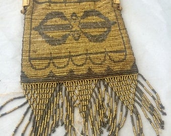 Antique French Steel cut  beaded handbag   Better than excellent condition Perfect fringe