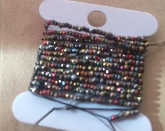 antique French steel cut  bead  hank KALEIDOSCOPE vintage colored metal  beads
