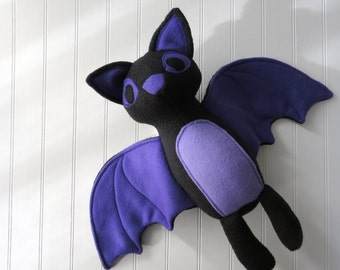 Black Bat Plush, Bat Toy, Stuffed Bat, Black and Purple Bat