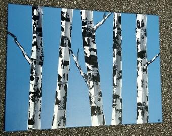 "BIRCH TREE ART - Original Acrylic Landscape Painting, Birch Tree Art, 18"" x 24"" Modern Art, Midnight Blue Birches."