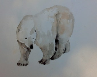 POLAR BEAR art, Watercolor original, polar bear painting, Original painting, Animal Art, children's room art, Polar Bears.