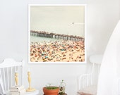 """Oversized Art // Beach Photography Brooklyn Summer // Coney Island Pier & Beach People Square Format """"The Summers we leave behind - Pier"""""""
