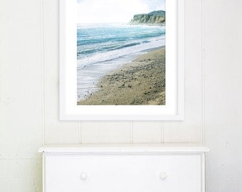 "Beach Photography //Large Wall Art // Nautical Decor // Seaside Photo // Turquoise Teal Aqua Blue Wall Art for Modern Home  ""Serenity Beach"""