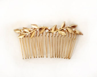 Twigs and Pearls Comb, Pearls Comb, Golden Leaves Hair Comb, Bridal Hair Accessory, Bridesmaid Jewellery, Wedding Comb, Rustic Woodland